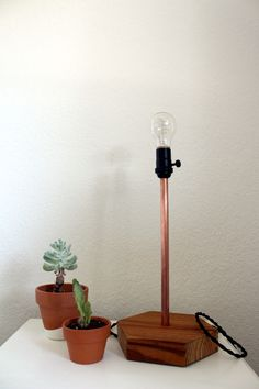 Copper And Wood Lamp