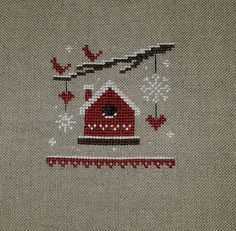 Finished Completed Cross Stitch The Little Stitcher Red Christmas Ornament
