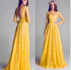 Yellow Prom Dresses,Elegant Prom Dresses,High Collar Prom Dresses,Backless Prom Dresses,Lace Prom Dresses,A Line Prom Dresses,PD160285