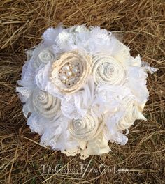 Vintage Burlap Lace and Brooch Bridal Bouquet by GypsyFarmGirl