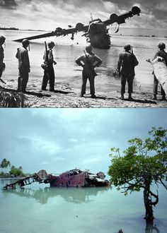 A destroyed WWII plane, then and now...