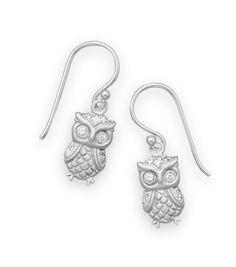 Rhodium-Plated Satin Finish Owl Earrings