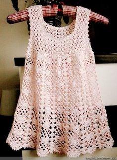 Fan mesh baby dress pattern crochet. Free baby dress crochet pattern. More Great Looks Like This