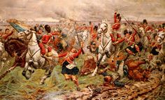 Painting of Gordons and Greys to the front at Waterloo.