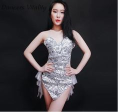 >> Click to Buy << Sequin Dress Bar New DS stage Dress Up Sexy Jazz Dance Clothing Nighttime dj Female Singer Latin bodysuit women sequin bodysuit #Affiliate