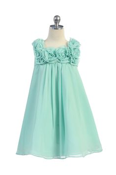 Aqua Mint Chiffon Short Flower Girl Dress
