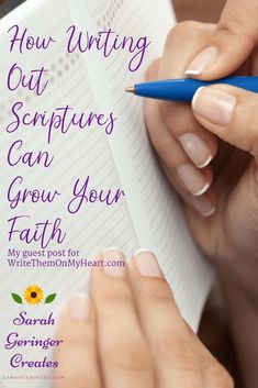 How Writing Out Scriptures Can Grow Your Faith Writing down Scripture helps us remember it and put it into practice. It can serve as a guard or warning, or help us focus on uplifting truths. Learn more about how this can grow your faith in my recent post. Bible Study Tips, Scripture Study, Women Of Faith, Faith In God, Christian Meditation, Was Ist Pinterest, Bible Scriptures, Faith Bible, Christian Faith