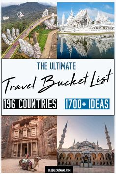 The Ultimate Travel Bucket List <br> A unique collection of more than 1700 travel bucket list ideas from every country in the world. The inspiration you need to start your bucket list adventure Universal Studios Florida, Universal Orlando, Travel Tours, Travel List, Travel Ideas, Travel Money, Work Travel, Travel Advice, Travel Style