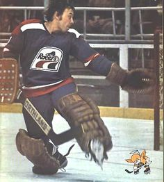 Andy Brown, former Pens goalie, in the old uniform of the Indianapolis Racers of the WHA.
