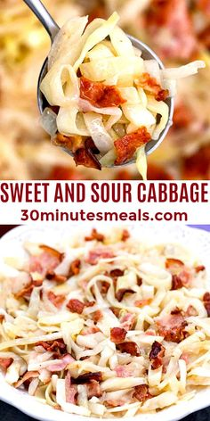 Sweet and Sour Cabbage is a rustic side dish with greens and crunchy bacon in a tangy and sweet sauce. #sweetandsour #cabbage #sidedish #bacon #dinner #sweetandsavorymeals Best Healthy Dinner Recipes, Fast Healthy Meals, Vegetarian Recipes Easy, Veggie Recipes, Lunch Recipes, Delicious Meals, Yummy Recipes, Yummy Food, Veggie Side Dishes