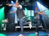 Bad Rabbits dance at the BMI/Spin showcase, held October 19 at the Highline Ballroom in New York City.