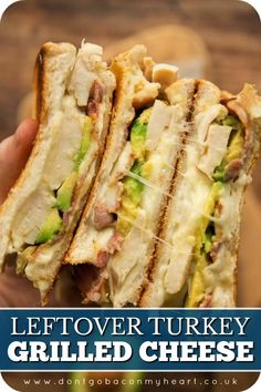 This Grilled Cheese Sandwich is the perfect way to use up Leftover Turkey. Packed with Bacon, Avocado and Ranch, turkey melts never tasted so good! #turkey #leftoverturkey #leftoverturkeysandwich #turkeymelt | www.dontgobaconmyheart.co.uk