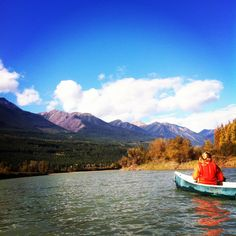 Canoeing down the Columbia River in Golden, BC