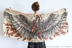 Anniversary Gift, Feather Scarf, Bohemian Scarf, Wings Scarf, Cotton Scarf, Thank You Gift, Summer Wrap, Sarong Cover Up, Beach Shawl