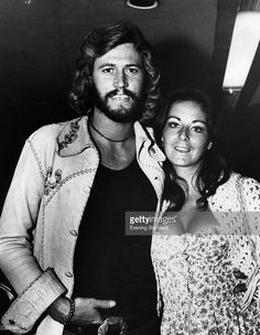 Pop singer Barry Gibb of the Bee Gees group with his wife Linda in 1973.