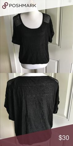 Victoria's Secret Linen and Mesh tee New condition. Size small. Linen blend top with Mesh detailing on the sleeves. Victoria's Secret Tops Tees - Short Sleeve