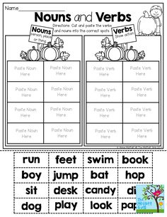 Free Parts of Speech Worksheets: The Noun/Verb Sort | Free ...