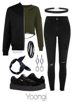 """Hanging out - Yoongi "" by ari2sk ❤ liked on Polyvore featuring River Island, Puma, Topman, Humble Chic, Alexander Wang, Phillip Gavriel and Boohoo"