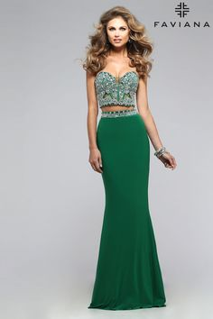 Jersey two piece beaded corset with detail lace back #Faviana Style S7524 #PromDresses
