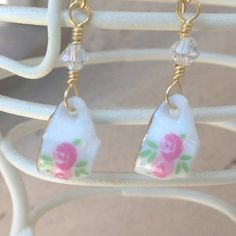 Tiniest Teacup Earrings, Miniature Teacups, Teacup Jewelry, Porcelain Teacup, Alice in Wonderland, $15.00
