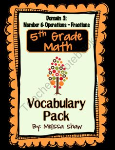 5th Grade Math Vocabulary Complete Pack *Domain 3* product from Classroom-Creations on TeachersNotebook.com