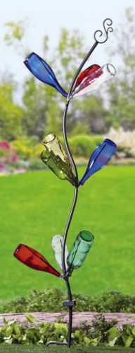 """Tall Solar-Powered Metal Bottle Tree Garden Stake 72""""H with 9 Lighted Branches"""