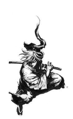 Fan art of the main character from Japanese comic Rurouni Kenshin 《るろうに剣心》 or Samurai X. Originally done in traditional medium (paper, brush and ink), is now digitized to share my art with the world. Tattoo Samurai, Samurai Drawing, Samurai Anime, Samurai Artwork, Demon Tattoo, Arte Ninja, Ninja Art, Samurai Poses, Art Adventure Time