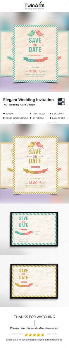 Elegant wedding invitation card This is a wedding inviation card . This template download contains a 300 dpi print-ready CMYK psd files. All main elements are editable and customizable.