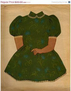 SUMMER BLOWOUT Vintage Paper Doll Green Dress  8x10 print. $14.00, via Etsy.