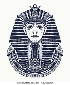 Pharaoh tattoo art, Egypt pharaoh graphic, t-shirt design. Great king of ancient Egypt. Tutankhamen mask tatoo. Egyptian golden pharaohs mask, ethnic style tattoo vector
