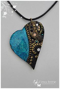 blue steampunk heart by Fimo Feerie