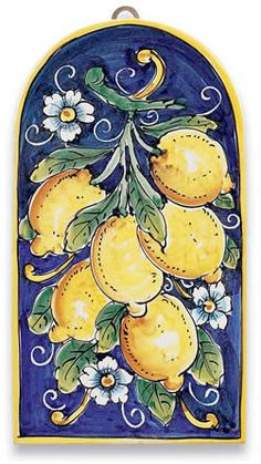 Ceramic Tile Lemons. Majolica - Ceramic Tiles - Italian Pottery. Handcrafted in Italy, a true Majorica and made of European Red Clay and hand painted freestyle in lead-free glazes that are food safe....