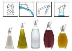 Reverse Funnels for Stylish Spill-Free Glass Serving Carafes Smart Packaging, Packaging Design, Oil Bottle, Water Bottle, Arch Interior, Bottle Design, Carafe, Kitchen Gadgets, Industrial Design