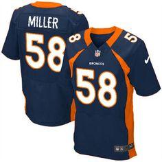 Nike Elite Mens Denver Broncos http://#58 Von Miller Alternate Dark Blue NFL Jersey$79.99
