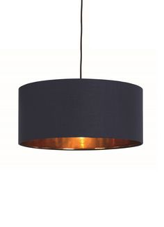 Hue Pendant Lampshade, in Navy and Copper. The Hue shade looks super sleek, both on and off.COM Also in other colours Living Room Goals, New Living Room, Home Furnishing Accessories, Home Furnishings, Living Room Knock Through, Navy And Copper, Dining Room Inspiration, Interior And Exterior, Interior Design