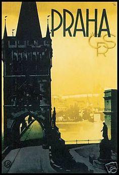 Praha - Prague / Travel - Vintage  Poster Art -  Canvas