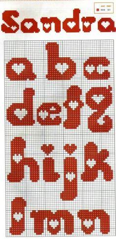Alphabet with heart pattern ♥ Korsstygns-Arkivet ♥ Abecedario con corazones parte Cross Stitch Letters, Cross Stitch Heart, Beaded Cross Stitch, Cross Stitch Embroidery, Crochet Alphabet, Crochet Letters, Embroidery Alphabet, Plastic Canvas Letters, Plastic Canvas Crafts