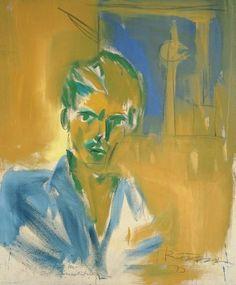 Rainer Fetting (German, b. 1949), Selbst am Moritz vor Ost Fernsehturm [Self-portrait at the Moritz restaurant, the Fernsehturm behind], 1975. Oil over crayon on canvas, 136 x 110.5 cm.