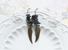Angel Wings // Earrings in metal with brass colored by OhKsushop