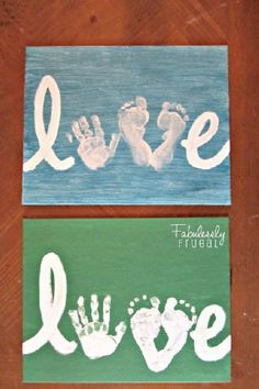 DIY Love Handprint Sign (Picture Tutorial This Mother's Day, create a cute craft with your kiddos, and then keep it on display for years to come. With the inclusion of hand and footprints, this DIY Love Hand Print Sign is fun to make—and is just the right Kids Crafts, Cute Crafts, Toddler Crafts, Crafts To Do, Crafts With Baby, Crafts With Toddlers, Crafts For Babies, Daycare Crafts, Family Crafts