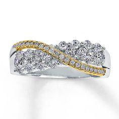 Diamond Ring 1 ct tw Round-cut 14K Two-Tone Gold