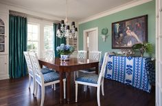 Dining Room Pemberton Heights, Austin, TX Dining American Colonial Traditional Neoclassical Transitional by Meredith Ellis Design (=) Green Dining Room, Dining Rooms, Green Rooms, Green Walls, Austin Homes, Austin Tx, Interior Design Portfolios, Green Paint Colors, Colours