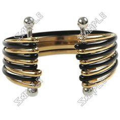 Golden& Black Adjustable Charm Bracelet Lady, Cuff Bracelets, Charmed, Ring