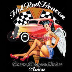 Hot Rod Heaven Angel Babe Car T Shirt Mens T by OldSaltSailorTees