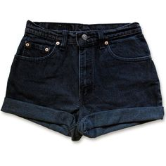 Vintage 90s Levi's Black Gray Dark Wash High Waisted Rise Cut Offs... (1.415 UYU) ❤ liked on Polyvore featuring shorts, bottoms, high waisted shorts, levi shorts, denim shorts, high rise jean shorts and vintage high waisted shorts