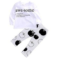 Baby M�dchen Langarm Buchstaben Shirt �pfel Drucken Hosen Outfit (80(6-12M))