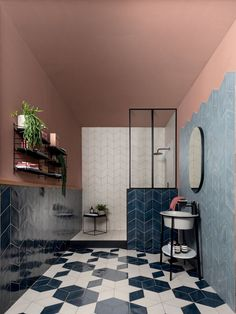 Patterned cement tiles in porcelain stoneware, with sophisticated nuances and matt and glossy options for the diamond shape. Discover the retro look of the Ossidi floor and wall tiles. Bathroom Tile Designs, Bathroom Interior Design, Wall And Floor Tiles, Wall Tiles, Cement Tiles, Ceramica Tile, Modernism Week, Commercial Interiors, Bathroom Inspiration