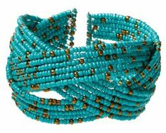 Turquoise Color Cuff Style Bracelet with Gold Color Beads - One Size Fits All Bracelets - Fashion Jewelry. $11.95