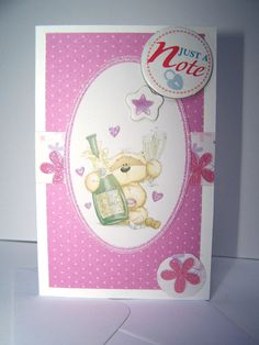 Fizzy Moon Just a Note mini card  lilac and white