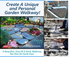 ROCKA DESIGN™ Custom Stone Maker is the perfect tool to create your custom stepping stones. You will find it not only fast and easy to use - but fun too. No special skills or hard work involved. Now you can create endless designs. Stepping Stone Molds, Concrete Stepping Stones, Garden Stepping Stones, Concrete Garden, Concrete Stone, Diy Concrete, Concrete Walkway, Concrete Forms, Flagstone